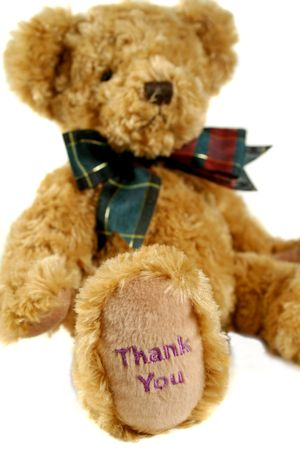 dearest: Teddy bear with thank you on his paw.