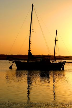 Old clipper ship bathed in the morning sun. Stock Photo - 965039