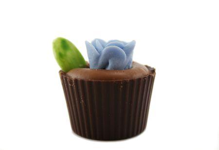 delightful: Delightful single handmade flowerpot chocolate. Stock Photo