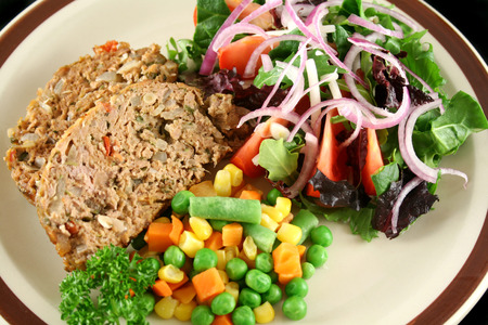 homestyle: Homestyle lamb meatloaf with vegetables and salad.
