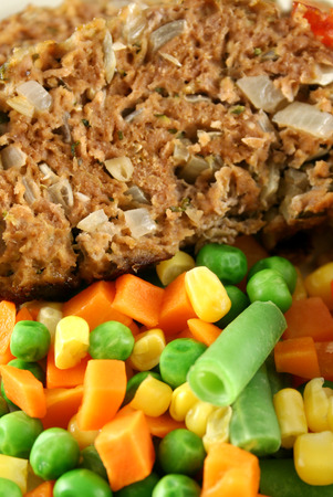 homestyle: Homestyle lamb meatloaf with vegetables.