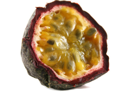 Freshly harvested passionfruit cut in half. Stock Photo