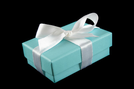 dearest: Delicate powder blue gift box with silver bow.
