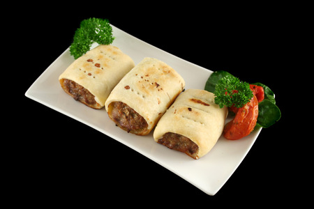 homestyle: Delicious fresh baked homestyle sausage rolls ready to serve.