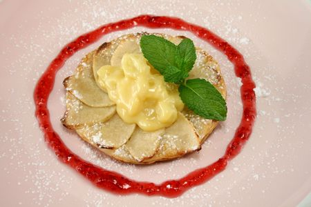 rich flavor: Apple galettes with custard and strawberry conserve.