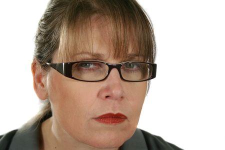 disapproving: Closeup di gravi e arrabbiato d'affari con occhiali staring.  Archivio Fotografico