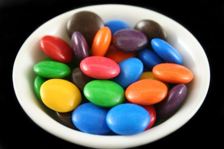 fatter: Assorted crunchy and colorful chocolate buttons.