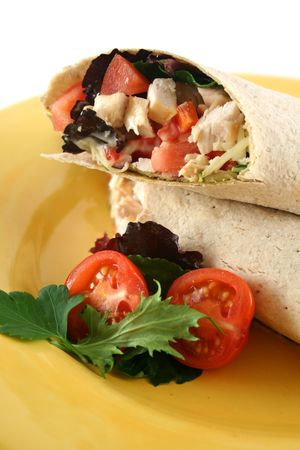 unprocessed: Healthy chicken and salad wrap ready to serve.