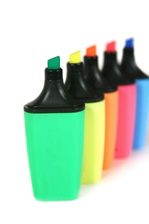 Multi colored highlighter pens in a row. Stock Photo - 2151358