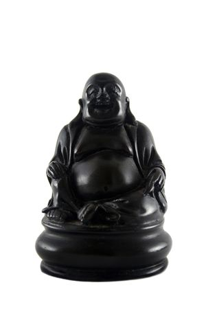 hand carved: Hand carved black buddha isolated on white.