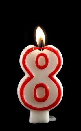Burning number eight candle with dripping wax. photo