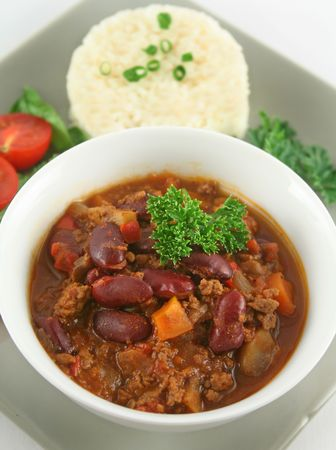 con: Colorful and spicy chili con carne ready to serve.