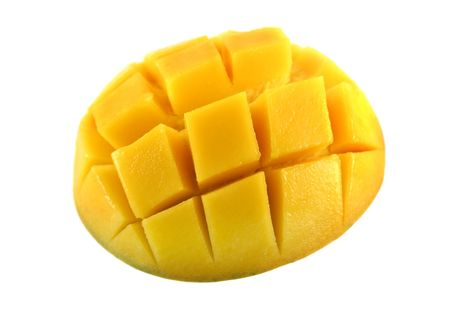 Fresh and colorful mango cut and cubed in its skin. Stock Photo
