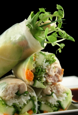 Delicious and healthy Vietnamese rice paper rolls with chicken and vegetables.