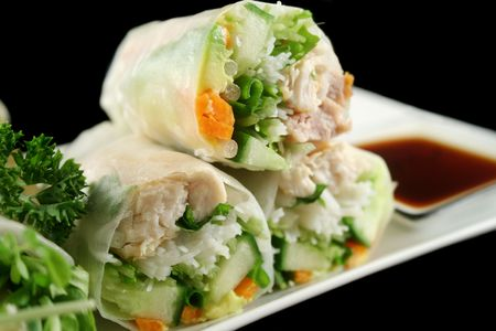 nourishment: Delicious and healthy Vietnamese rice paper rolls with chicken and vegetables.