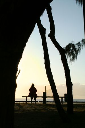 Sitting by the ocean just after sunrise. Stock Photo - 2642987