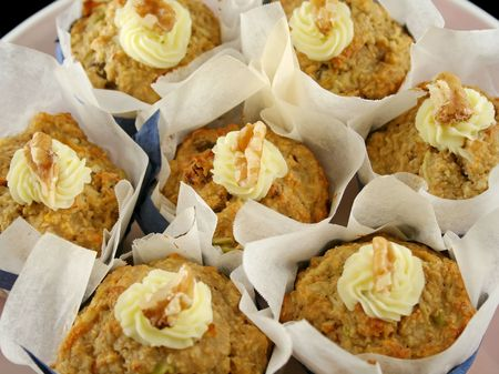 homestyle: Homestyle fresh baked fruit muffins with cream cheese and walnuts.