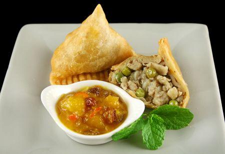 chutney: Indian samosa with mango chutney and herb yogurt.