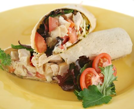 Healthy chicken and salad wrap ready to serve.
