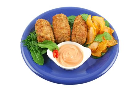 croquettes: Crumbed tuna croquettes with sweet potatoes and a rocket salad.