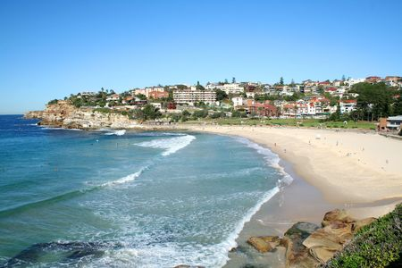 chillout: Beautiful day at Bronte Beach and village in Sydney Australia.