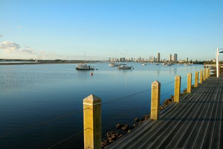The Broadwater on the Gold Coast Australia at sunrise seen from Labrador looking toward Main Beach. Stock Photo - 2880539