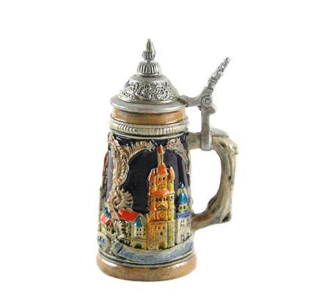pewter mug: German style beer stein with pewter lid and handle.