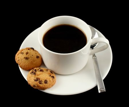 rich flavor: Cup of black coffee with chocolate chip cookies.