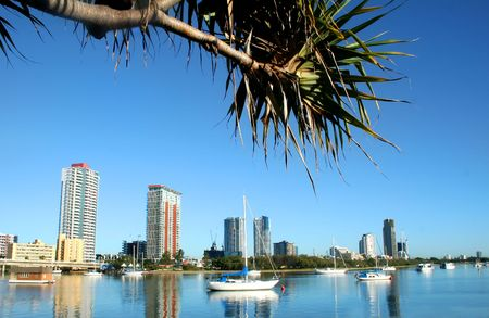 City of Southport on the Gold Coast Australia seen across the Nerang River just after sunrise. Stock Photo - 2924533