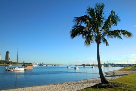 chillout: View of the Broadwater from Main Beach on the Gold Coast Australia in the early morning
