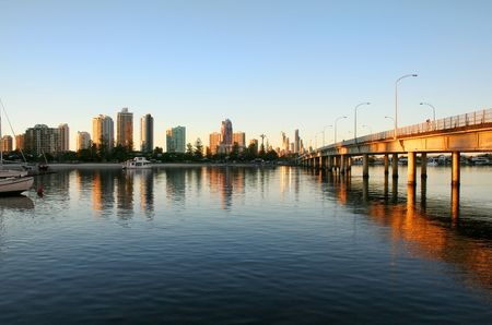 Looking towards Surfers Paradise Gold Coast Australia with the Southport Bridge at dawn. Stock Photo - 2970418