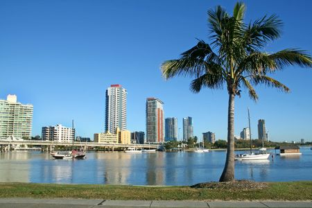 Southport on the Gold Coast Australia seen across the Nerang River from Main Beach. Stock Photo - 3005797