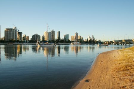 Main Beach Gold Coast Australia at sunrise seen North from Southport with Sundale Bridge. Stock Photo - 3008914