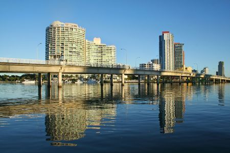 The Sundale Bridge at Southport Gold Coast Australia with reflections in the water just after sunrise. Stock Photo - 3027150