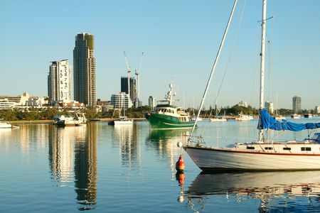 View of the boats on the Broadwater Gold Coast Australia looking toward Southport. Stock Photo - 3031678