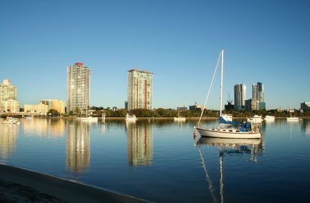 Southport on the Gold Coast Australia seen across the Nerang River from Main Beach at dawn. Stock Photo - 3065529