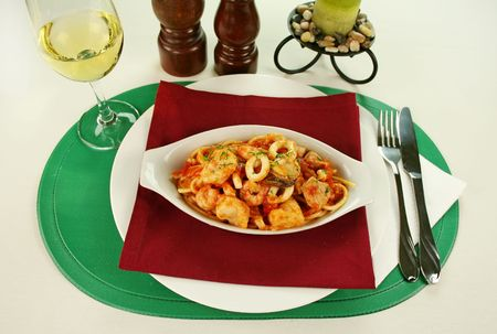 marinara: Delicious spaghetti marinara with fish, shrimps, calamari and mussels with a spicy tomato sauce.