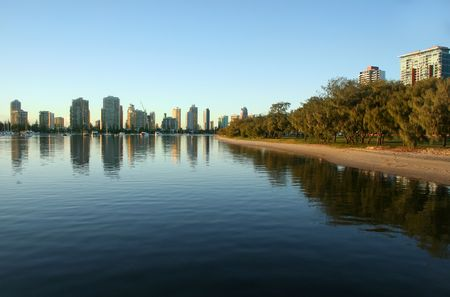 Main Beach Gold Coast Australia seen from Southport across the Broadwater at sunrise. Stock Photo - 3427169
