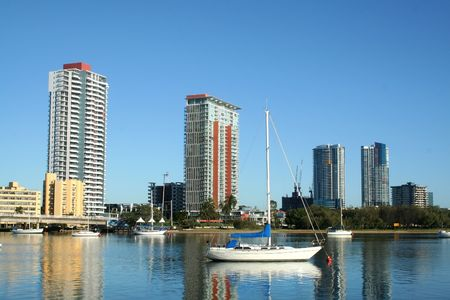 City of Southport on the Gold Coast Australia seen across the Nerang River in the early morning. Stock Photo - 3427172