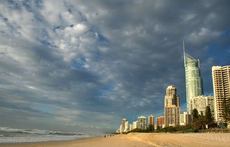 Early morning view of Surfers Paradise skyline on the Gold Coast Australia from the Northern end. photo