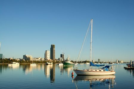 View of the boats on the Broadwater Gold Coast Australia looking toward Southport. photo