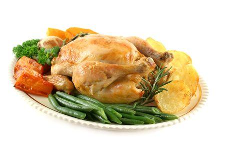 pollo arrosto: Tutta la pollo arrosto con patate carote zucca e fagioli.