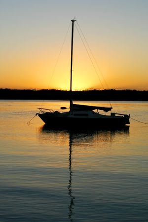 Yacht moored at peace in the early morning dawn light. Stock Photo - 3733697