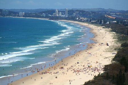 View across Surfers Paradise beach looking South down the Gold Coast Australia.