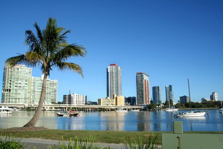 Southport on the Gold Coast Australia seen across the Nerang River from Main Beach.
