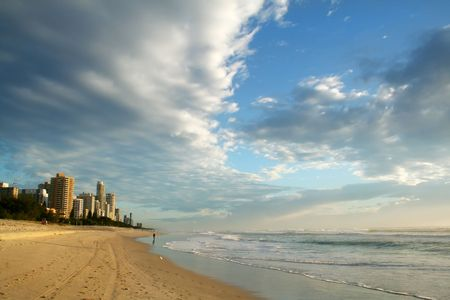 chillout: Early morning view of Surfers Paradise skyline on the Gold Coast Australia