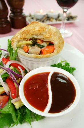 homestyle: Homestyle chicken and vegetable pie with salad  Stock Photo