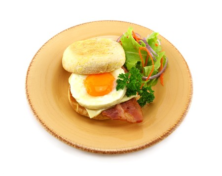 rasher: Delicious bacon and egg muffin with cheese ready to serve for breakfast.