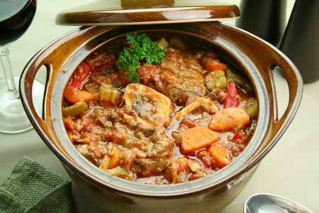 Delicious slow roasted osso bucco ready to serve. Stock Photo