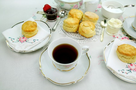 Devonshire tea and fresh baked scones with jam and cream.